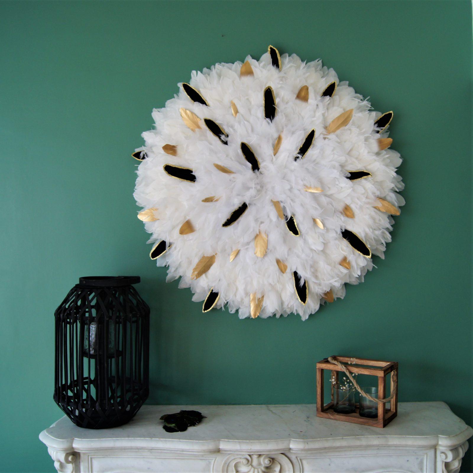 Sur-mesure - My juju Hat - Plumes baroques ivoire or et noir 90 cm